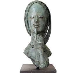 Silenzio | model sculpture in bronze by Marion Visione now for sale online! ✓Highest quality & service ✓Safe payment ✓Free shipping