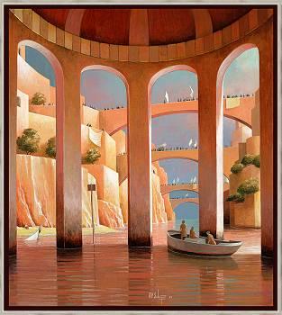 Ein unbekannter Horizont | Landschaft mit Architektur Gemälde von Michiel Schrijver kaufen Sie jetzt online! ✓Sichere Zahlung ✓Kostenloser Versand