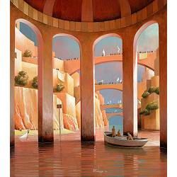 An unknown horizon | landscape with architecture painting by Michiel Schrijver now for sale online! ✓Highest quality ✓Safe payment ✓Free shipping