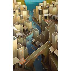 In transit to the summer | landscape with architecture painting by Michiel Schrijver now for sale online! ✓Highest quality ✓Safe payment ✓Free shipping