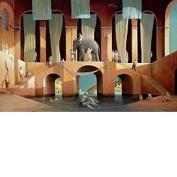 Morning silhouettes | landscape with architecture painting by Michiel Schrijver now for sale online! ✓Highest quality & service ✓Safe payment ✓Free shipping