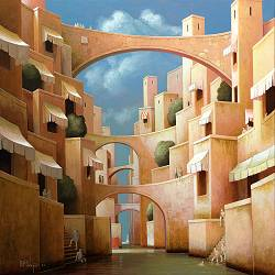 Closed worlds | landscape with architecture painting by Michiel Schrijver now for sale online! ✓Highest quality & service ✓Safe payment ✓Free shipping
