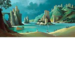 Summer wings | landscape with architecture painting by Michiel Schrijver now for sale online! ✓Highest quality & service ✓Safe payment ✓Free shipping