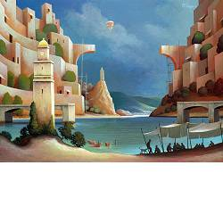 Shady conversations | landscape with architecture painting by Michiel Schrijver now for sale online! ✓Highest quality ✓Safe payment ✓Free shipping