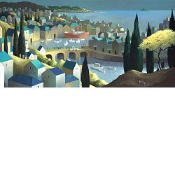 The city, the sea and life | landscape with architecture painting by Michiel Schrijver now for sale online! ✓Highest quality ✓Safe payment ✓Free shipping