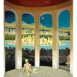 The power of silence | landscape with architecture painting by Michiel Schrijver now for sale online! ✓Highest quality ✓Safe payment ✓Free shipping