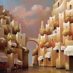 In the shadow of life | landscape with architecture painting by Michiel Schrijver now for sale online! ✓Highest quality ✓Safe payment ✓Free shipping