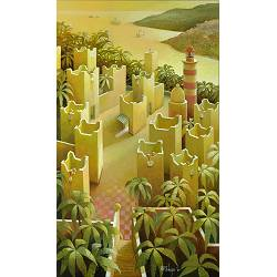 The present tense | landscape with architecture painting by Michiel Schrijver now for sale online! ✓Highest quality & service ✓Safe payment ✓Free shipping