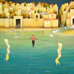 A greeting from the other side | landscape with architecture painting by Michiel Schrijver now for sale online! ✓Highest quality ✓Safe payment ✓Free shipping
