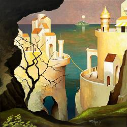 At the rise of the full moon | landscape with architecture painting by Michiel Schrijver now for sale online! ✓Highest quality ✓Safe payment ✓Free shipping
