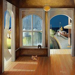 Goodbye to the summer | landscape with architecture painting by Michiel Schrijver now for sale online! ✓Highest quality ✓Safe payment ✓Free shipping
