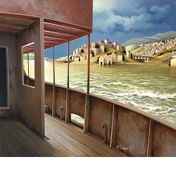 The hidden sea | landscape with architecture painting by Michiel Schrijver now for sale online! ✓Highest quality & service ✓Safe payment ✓Free shipping