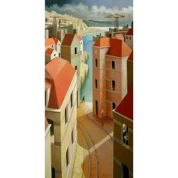 A warm summerday | landscape painting in acrylic by Michiel Schrijver now for sale online! ✓Highest quality & service ✓Safe payment ✓Free shipping