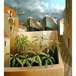 A late summer day | landscape painting in acrylic by Michiel Schrijver now for sale online! ✓Highest quality & service ✓Safe payment ✓Free shipping