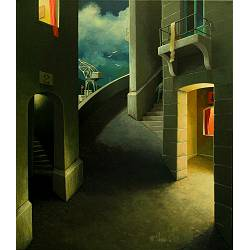 Long night | landscape painting in acrylic by Michiel Schrijver now for sale online! ✓Highest quality & service ✓Safe payment ✓Free shipping