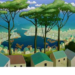 Joy of the morning | landscape painting in acrylic by Michiel Schrijver now for sale online! ✓Highest quality & service ✓Safe payment ✓Free shipping