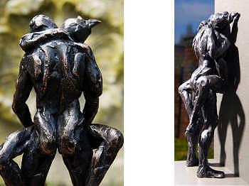 Ik en mijn minnaar | bronzen beeld van een man en vrouw van Natasja Bennink | Exclusieve kunst online te koop in de webshop van Galerie Wildevuur