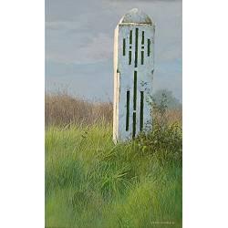 Polderpaal | landschap schilderij in acrylverf van Peter Durieux koopt u nu online!Hoogste kwaliteit & serviceVeilig betalenGratis verzending