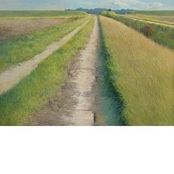 Naar de slaper | landschap schilderij in acrylverf van Peter Durieux koopt u nu online!Hoogste kwaliteitVeilig betalenGratis verzending