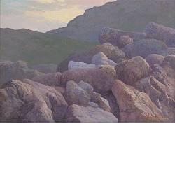 Rotsval | landschap schilderij in acrylverf van Peter Durieux koopt u nu online!Hoogste kwaliteit & serviceVeilig betalenGratis verzending