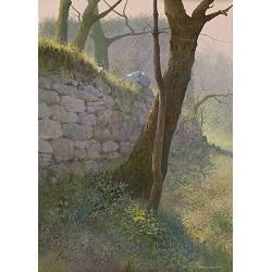 Langs de muur | landschap schilderij in acrylverf van Peter Durieux koopt u nu online!Hoogste kwaliteitVeilig betalenGratis verzending