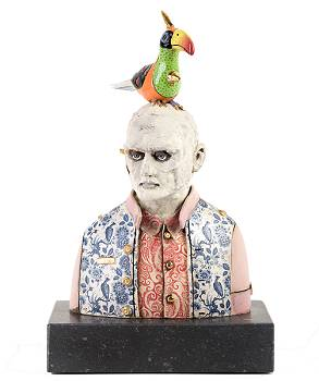 Ordinary person with Toucan | sculpture in ceramics by Peter Hiemstra now for sale online! ✓Highest quality & service ✓Safe payment ✓Free shipping