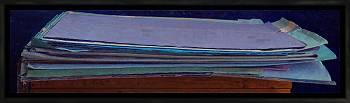 Map met papier | stilleven schilderij in olieverf van Piet Sebens koopt u nu online!Hoogste kwaliteit & serviceVeilig betalenGratis verzending