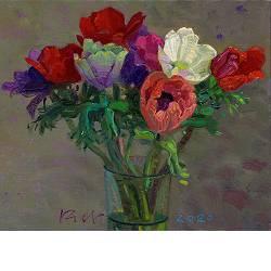 Anemonen, Burgervlotbrug | stilleven schilderij in olieverf van Piet Sebens koopt u nu online!Hoogste kwaliteitVeilig betalenGratis verzending