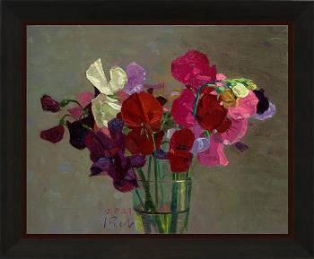 Lathyrus, Zuidwolde | stilleven schilderij in olieverf van Piet Sebens koopt u nu online!Hoogste kwaliteit & serviceVeilig betalenGratis verzending