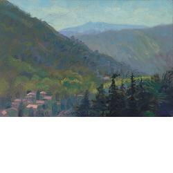Gezicht op St. Jean du Gard | landschap schilderij in olieverf van Piet Sebens koopt u nu online!Hoogste kwaliteitVeilig betalenGratis verzending