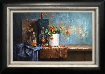Stilleven met Oost Indische kers en flesjes | schilderij in olieverf van Rene Jansen | Exclusieve kunst online te koop in de webshop van Galerie Wildevuur