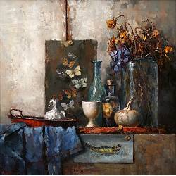 Still life with glass, roses and a gourd | painting in oil by Rene Jansen | Exclusive Dutch Master Art | View and buy the best artworks online now