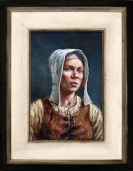 Griet | model schilderij in olieverf van Rene Jansen koopt u nu online! ✓Hoogste kwaliteit & service ✓Veilig betalen ✓Gratis verzending
