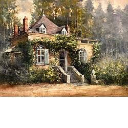 Droomhuis | landschap schilderij in olieverf van Rene Jansen | Exclusieve kunst online te koop in de webshop van Galerie Wildevuur