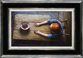 Kijk op rood | model schilderij in olieverf van Rene Jansen | Exclusieve kunst online te koop in de webshop van Galerie Wildevuur