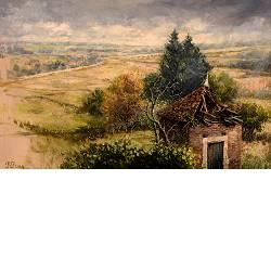 Buitje in Le Grand Moloy | landschap schilderij in olieverf van Rene Jansen | Exclusieve kunst online te koop in de webshop van Galerie Wildevuur