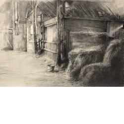 Paardenschuur | tekening van Rene Jansen | Exclusieve kunst online te koop in de webshop van Galerie Wildevuur