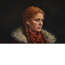 Braids (Hommage aan Andrew Wyeth) | model schilderij in olieverf van Rene Jansen | Exclusieve kunst online te koop bij Galerie Wildevuur