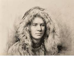 Winterjas | model tekening van Rene Jansen | Exclusieve kunst online te koop in de webshop van Galerie Wildevuur