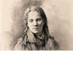 Jessica met rode sjaal | model tekening van Rene Jansen | Exclusieve kunst online te koop in de webshop van Galerie Wildevuur