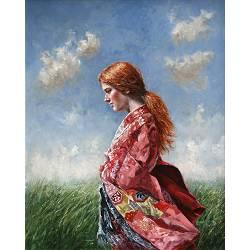 Against the wind | model schilderij in olieverf van Rene Jansen | Exclusieve kunst online te koop in de webshop van Galerie Wildevuur