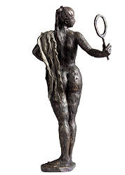 Mirror Mirror | sculpture of a standing woman in bronze by Romee Kanis | Exclusive Dutch Master Art | Shop the best artworks online now