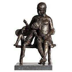 Summer | sculpture of a mother with child in bronze by Romee Kanis now for sale online! ?Highest quality & service ?Safe payment ?Free shipping
