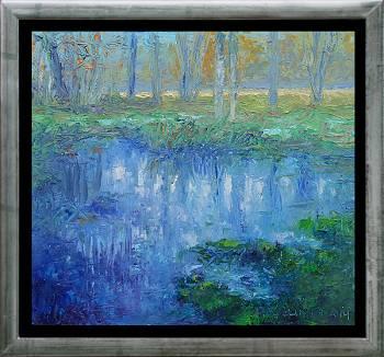 Drinkpoel | landschap schilderij in olieverf van Ronald Soeliman | Exclusieve kunst online te koop in de webshop van Galerie Wildevuur