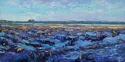 Stoppelveld | landschap schilderij in olieverf van Ronald Soeliman | Exclusieve kunst online te koop in de webshop van Galerie Wildevuur