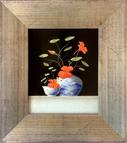 Chinese vase and bowl with Nasturtium