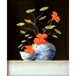Chinese vase and bowl with Nasturtium | still-life painting in oil by Ruud Verkerk now for sale online!Highest qualitySafe paymentFree shipping