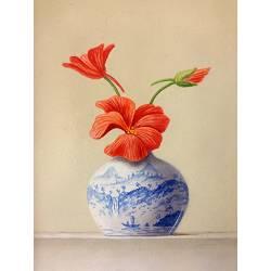 Chinees vaasje met met Oost Indische Kers | stilleven schilderij van Ruud Verkerk koopt u nu online! ✓Veilig betalen ✓Gratis verzending