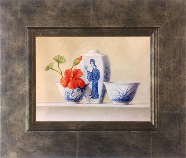 Chinese vase and bowl with Nasturtium II