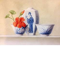 Chinese vase and bowl with Nasturtium II | still-life painting in oil by Ruud Verkerk now for sale online!Highest qualitySafe paymentFree shipping